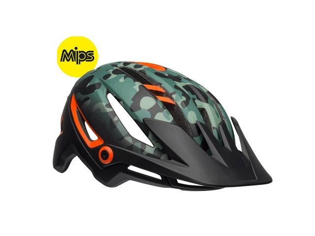 BELL Sixer Mips MTB Helmet 2019: Oak Matte Black/Green/Orange click to zoom image