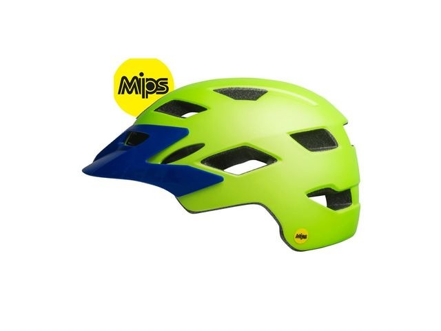 BELL Sidetrack Mips Youth Helmet 2019: Matte Bright Green/Blue Unisize 50-57cm click to zoom image