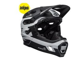 BELL Super Dh Mips MTB Helmet 2019: Fasthouse Stripes Matte Black/White