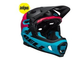 BELL Super Dh Mips MTB Helmet 2019: Unhinged Matte/Gloss Black/Berry/Blue