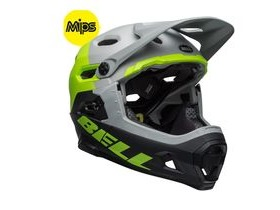 BELL Super Dh Mips MTB Helmet 2019: Unhinged Matte/Gloss Grey/Green/Black