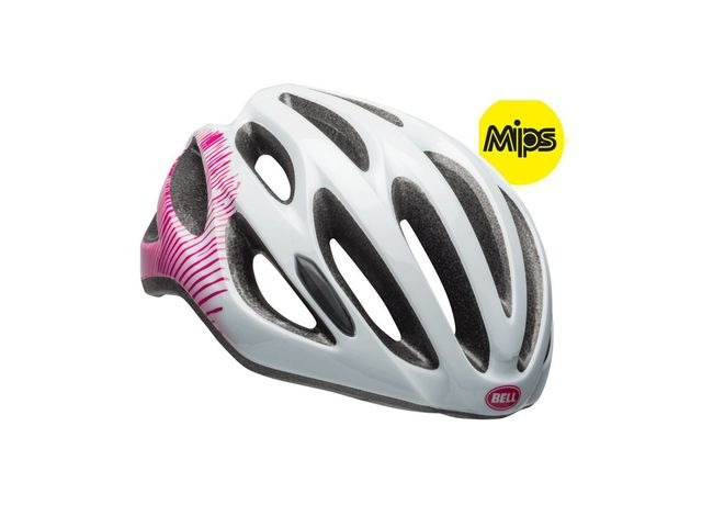 BELL Tempo Mips Universal Women's Helmet 2018: Gloss White/Cherry Fibers Unisize 50-57cm click to zoom image