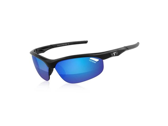 TIFOSI Veloce Gloss Black Clarion Blue Lens Sunglasses Red click to zoom image